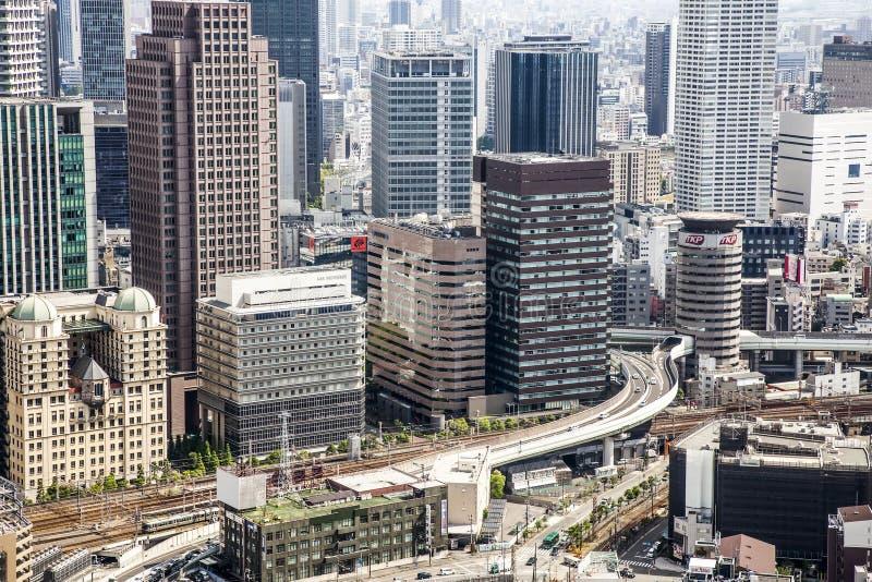 Γενική άποψη πυκνοκατοικημένο ιαπωνικό megalopolis Oska στοκ εικόνα με δικαίωμα ελεύθερης χρήσης