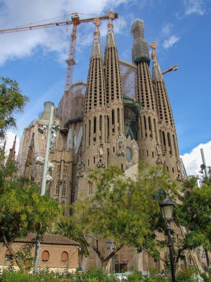 Γενική άποψη σχετικά με Sagrada Familia τη βασιλική στη Βαρκελώνη στοκ φωτογραφία