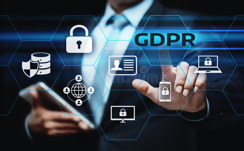 Γενική έννοια τεχνολογίας επιχειρησιακού Διαδικτύου κανονισμού προστασίας δεδομένων GDPR στοκ φωτογραφίες με δικαίωμα ελεύθερης χρήσης