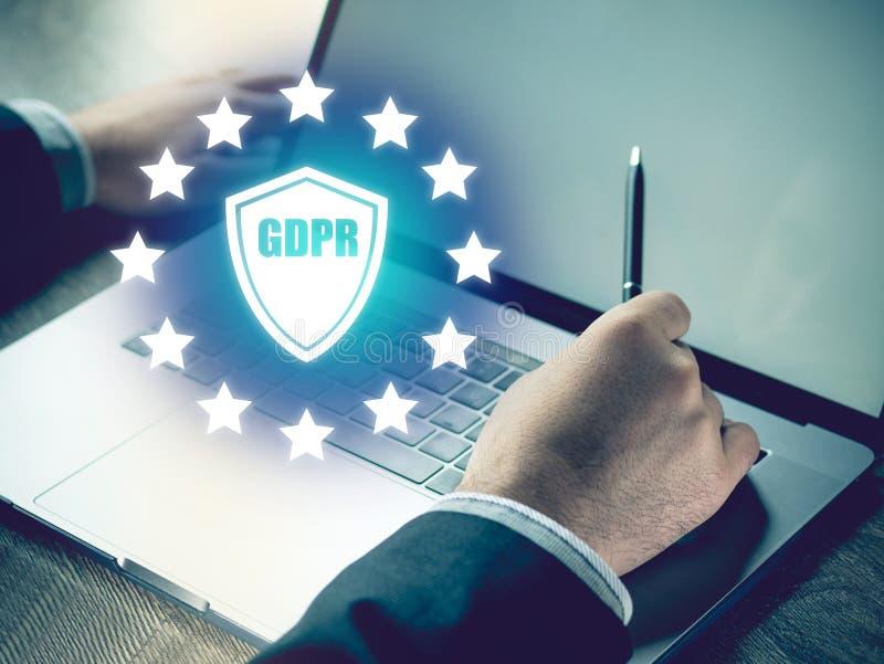 Γενική έννοια τεχνολογίας επιχειρησιακού Διαδικτύου κανονισμού προστασίας δεδομένων GDPR στοκ εικόνες με δικαίωμα ελεύθερης χρήσης
