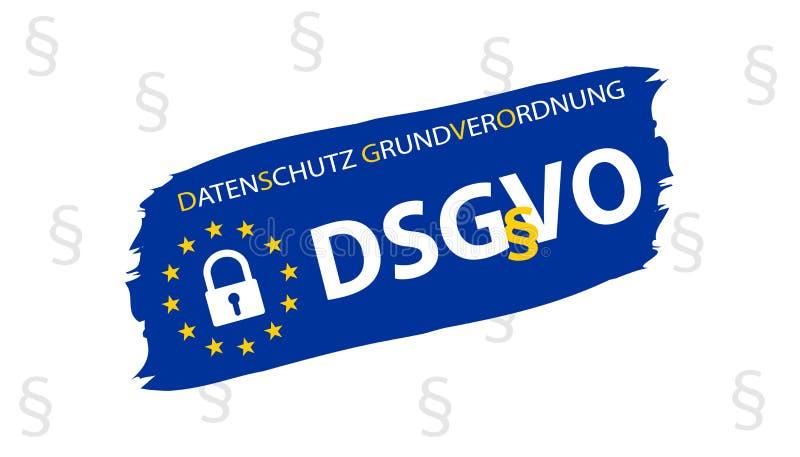 Γενική γερμανική μετάφραση κανονισμού προστασίας δεδομένων: Datenschutz Grundverordnung DSGVO απεικόνιση αποθεμάτων