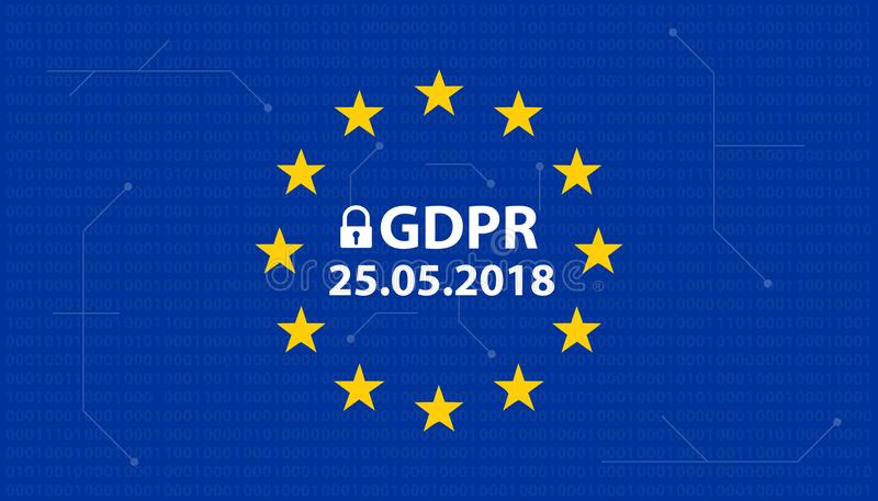 Γενική γερμανική μεταλλαγή κανονισμού GDPR προστασίας δεδομένων: Datenschutzverordnung DSGVO ελεύθερη απεικόνιση δικαιώματος