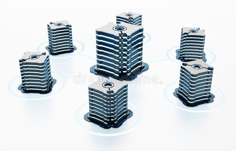 Γενικοί φουτουριστικοί κεντρικοί υπολογιστές δικτύων που συνδέονται ο ένας στον άλλο τρισδιάστατη απεικόνιση διανυσματική απεικόνιση