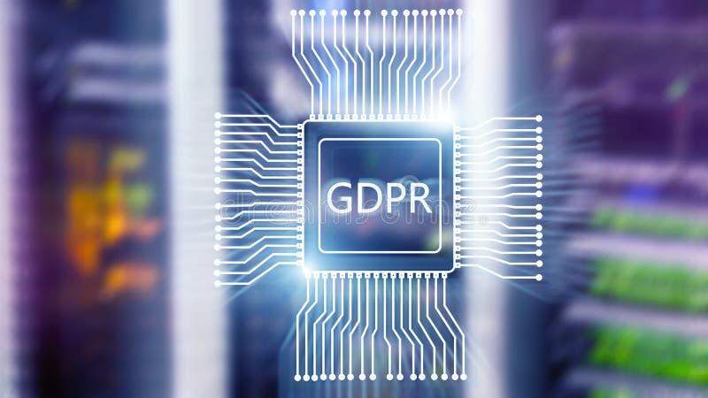 Γενικός κανονισμός προστασίας δεδομένων GDPR Αφηρημένο διπλό υπόβαθρο δωματίων κεντρικών υπολογιστών έκθεσης στοκ φωτογραφία με δικαίωμα ελεύθερης χρήσης