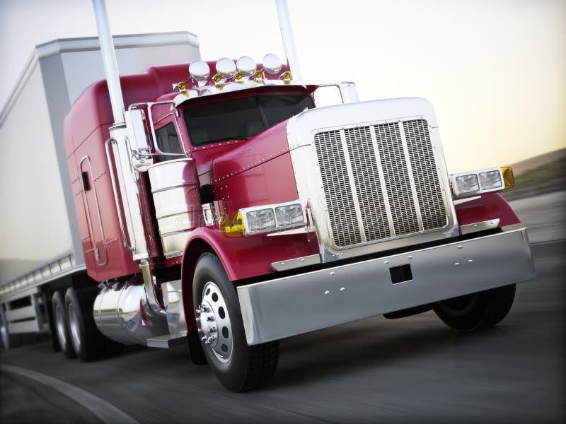 Γενικό ημι μεταφέροντας φορτίο φορτηγών κάτω από το δρόμο με τη θαμπάδα κινήσεων απεικόνιση αποθεμάτων