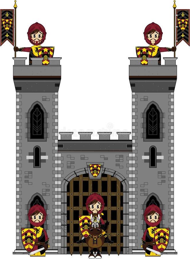 Γενναίοι μεσαιωνικοί ιππότες στο Castle απεικόνιση αποθεμάτων
