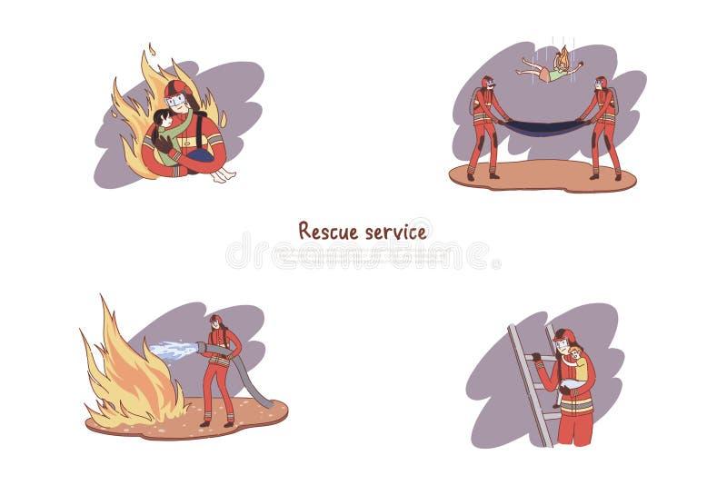 Γενναίοι πυροσβέστες σε ομοιόμορφο, ήρωες που εξαφανίζουν την πυρκαγιά, που διασώζει τα παιδιά, έμβλημα υπηρεσιών διάσωσης διανυσματική απεικόνιση