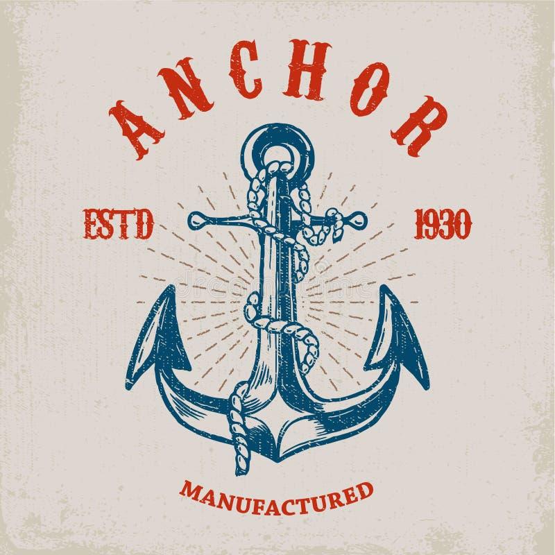 Γενναίος ναυτικός Συρμένη χέρι άγκυρα στο υπόβαθρο grunge Στοιχείο σχεδίου για την αφίσα, κάρτα, μπλούζα ελεύθερη απεικόνιση δικαιώματος
