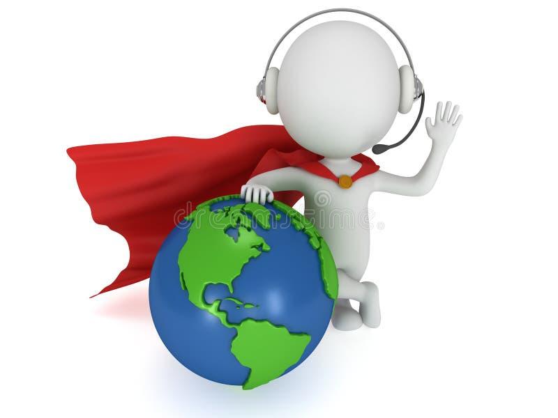 Γενναίο superhero στα headpones και την παγκόσμια σφαίρα ελεύθερη απεικόνιση δικαιώματος