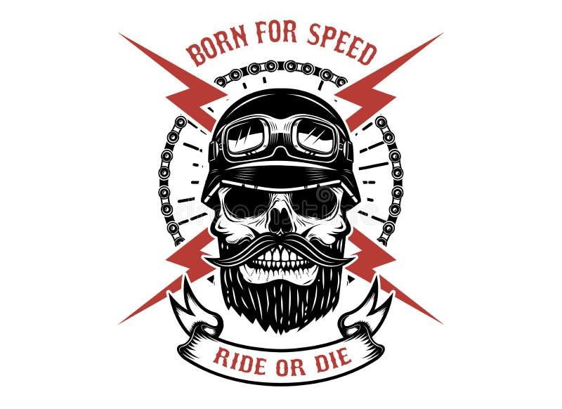 Γεννημένος για την ταχύτητα, το γύρο ή τον κύβο Ανθρώπινο κρανίο με τη διασχισμένη αστραπή Στοιχείο σχεδίου για το λογότυπο, ετικ ελεύθερη απεικόνιση δικαιώματος