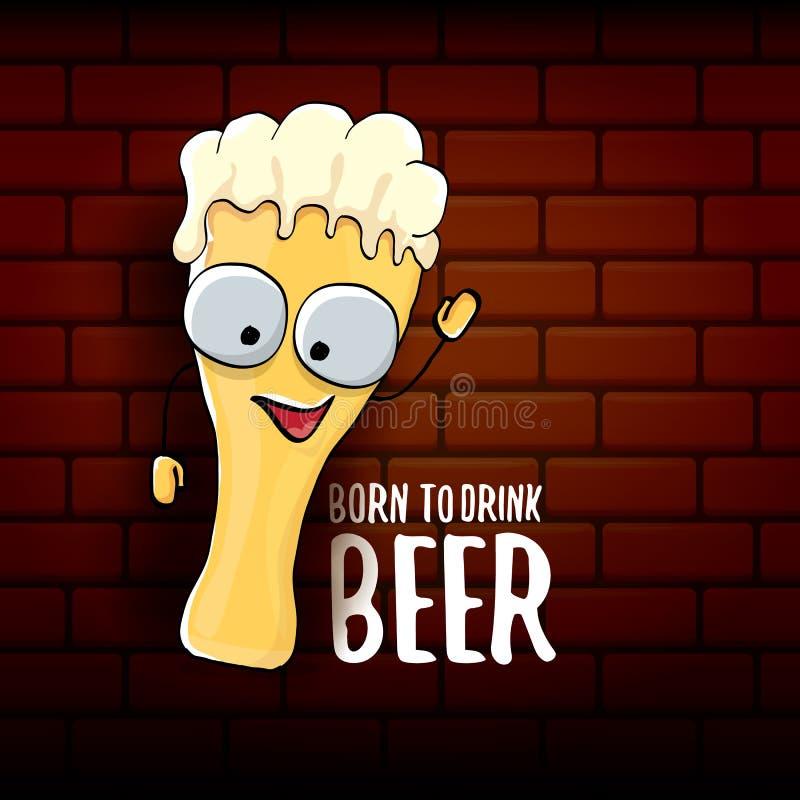 Γεννημένος να πιει τη διανυσματική απεικόνιση τυπωμένων υλών έννοιας μπύρας ή τη θερινή αφίσα διανυσματικός φοβιτσιάρης χαρακτήρα απεικόνιση αποθεμάτων