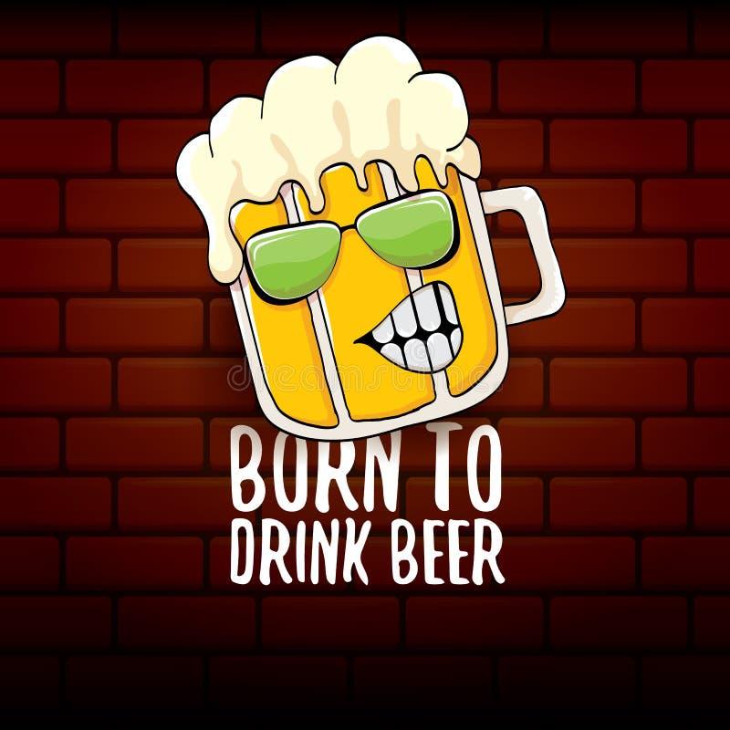 Γεννημένος να πιει τη διανυσματική απεικόνιση τυπωμένων υλών έννοιας μπύρας ή τη θερινή αφίσα διανυσματικός φοβιτσιάρης χαρακτήρα ελεύθερη απεικόνιση δικαιώματος