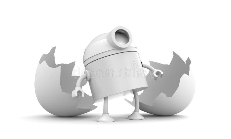 Γεννημένος του ρομπότ σπασμένο αυγό κοτόπουλο διανυσματική απεικόνιση