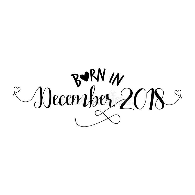 Γεννημένος το Δεκέμβριο του 2018 - διανυσματική απεικόνιση βρεφικών σταθμών απεικόνιση αποθεμάτων
