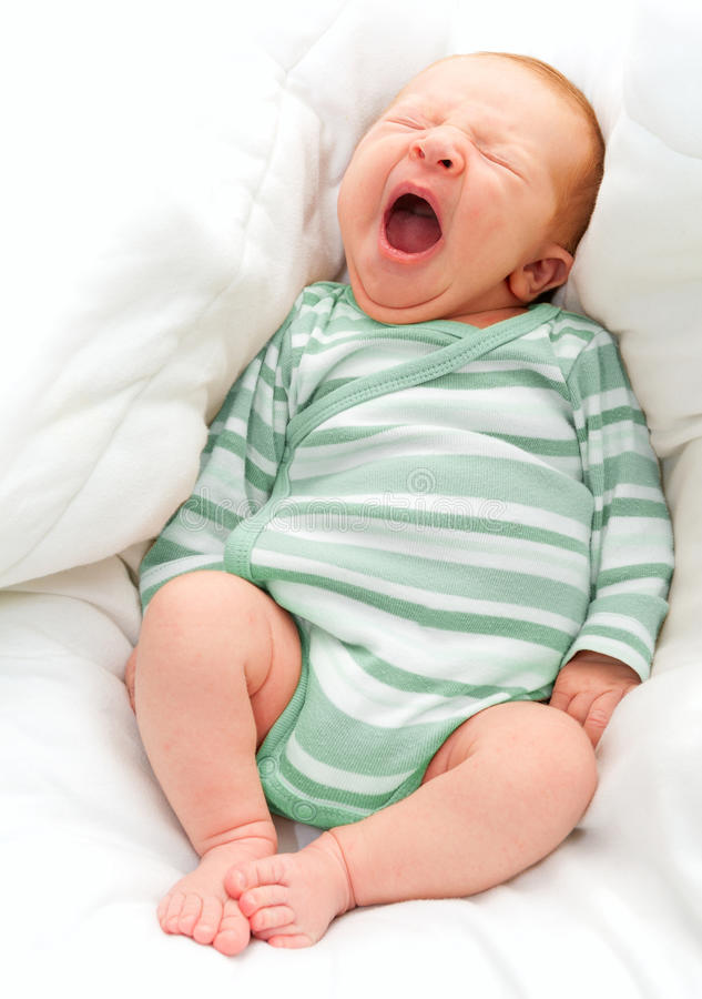 γεννημένο νέο χασμουρητό μωρών στοκ εικόνες