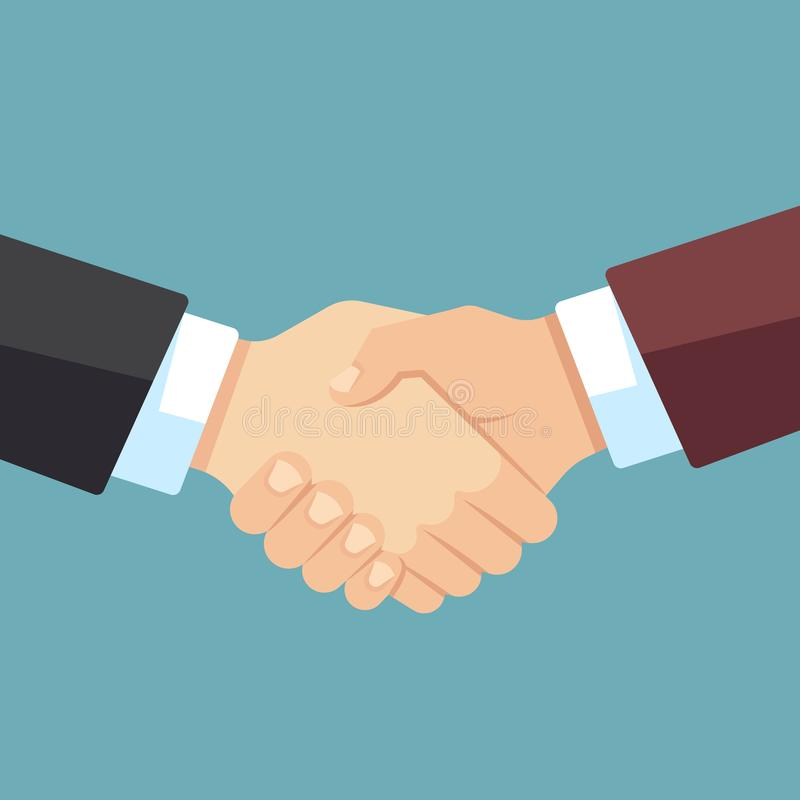 Γερή χειραψία των επιχειρηματιών Επιχειρησιακή ομάδα, συμφωνία και διανυσματική επίπεδη έννοια μεγάλης υπόθεσης διανυσματική απεικόνιση
