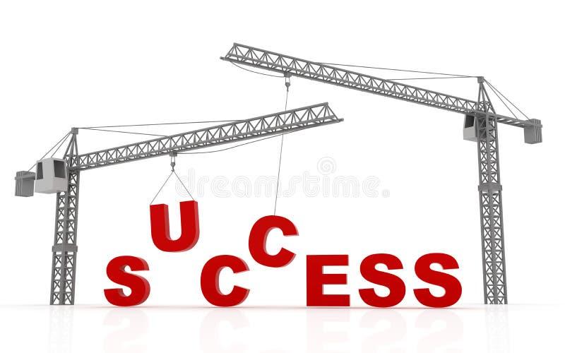 Γερανοί πύργων που ανυψώνουν τη λέξη επιτυχίας ελεύθερη απεικόνιση δικαιώματος