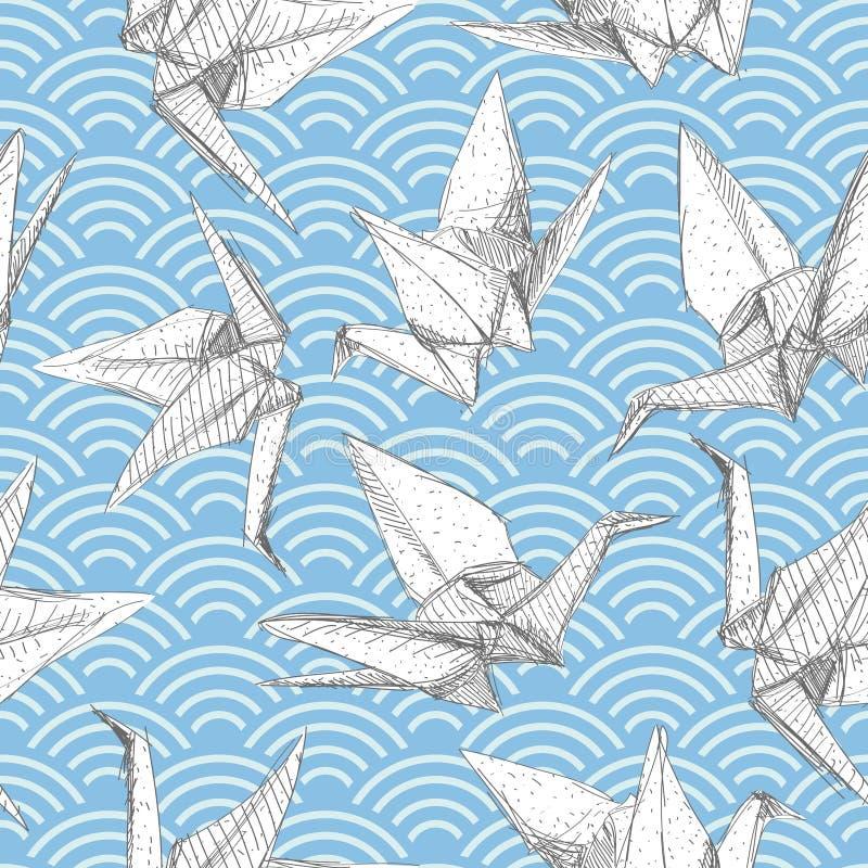 Γερανοί της Λευκής Βίβλου Origami καθορισμένοι το σκίτσο το άνευ ραφής σχέδιο γκρίζο ασιατικό υπόβαθρο φύσης γραμμών με το ιαπωνι ελεύθερη απεικόνιση δικαιώματος