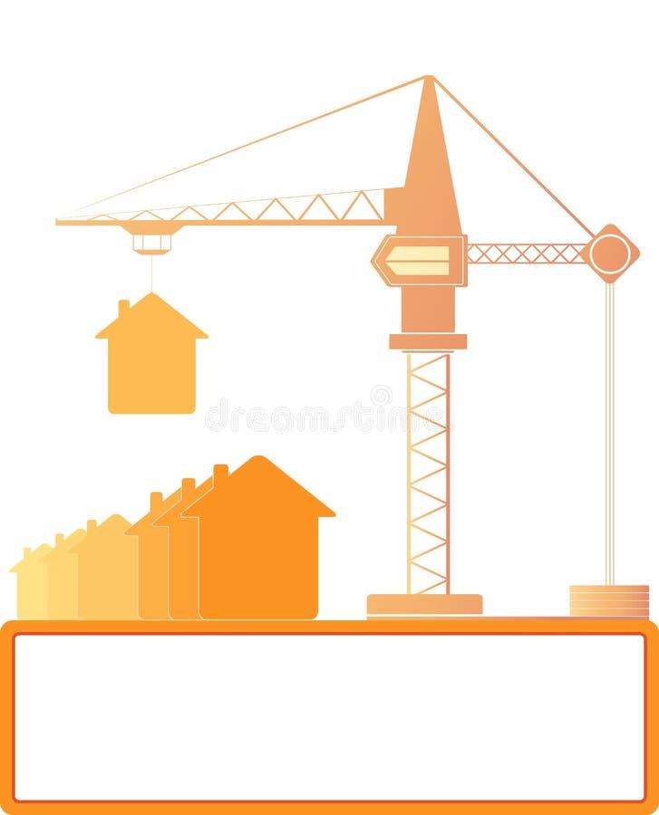 Γερανός κατασκευής με τα σπίτια και θέση για το κείμενο διανυσματική απεικόνιση