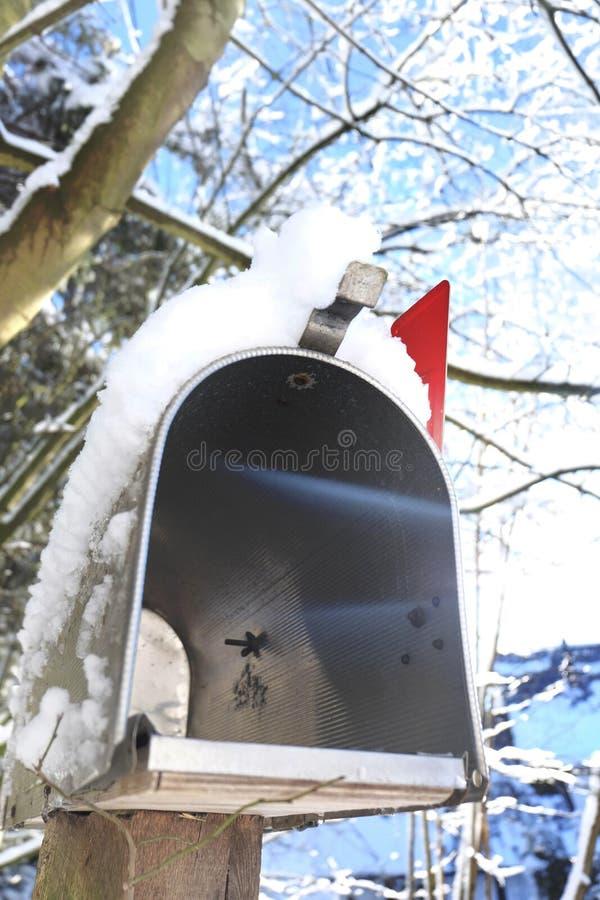 Γερμανία, αμερικανική ταχυδρομική θυρίδα το χειμώνα στοκ εικόνα