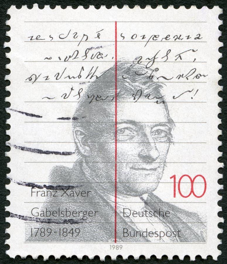 ΓΕΡΜΑΝΙΑ - 1989: παρουσιάζει Franz Xaver Gabelsberger 1789-1849, γερμανική στενογραφία εφευρετών στοκ φωτογραφία με δικαίωμα ελεύθερης χρήσης