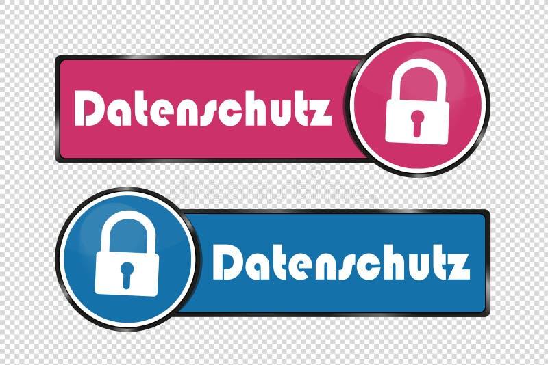 Γερμανικά κουμπιά τετραγώνων και κύκλων προστασίας δεδομένων - διανυσματική απεικόνιση - που απομονώνεται στο διαφανές υπόβαθρο απεικόνιση αποθεμάτων