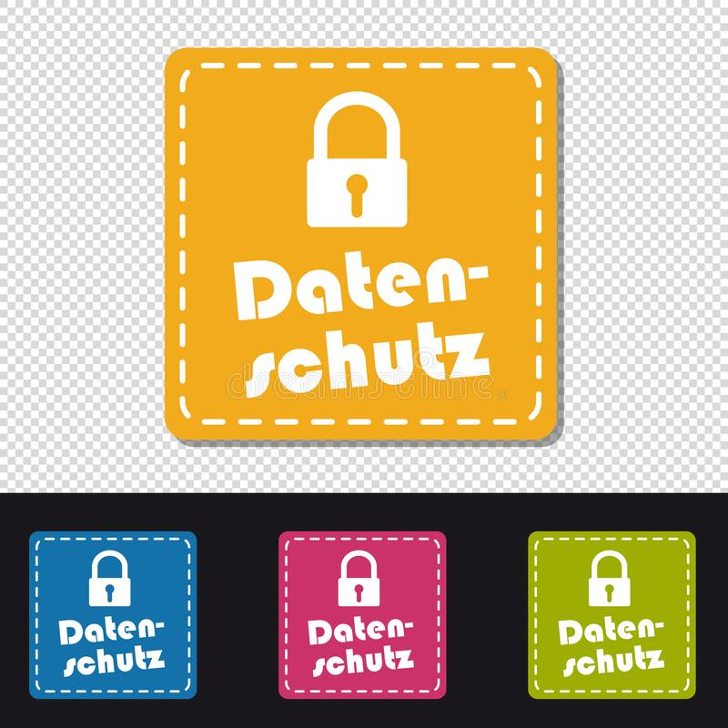 Γερμανικά τετραγωνικά κουμπιά προστασίας δεδομένων - ζωηρόχρωμη διανυσματική απεικόνιση - που απομονώνεται στο διαφανές υπόβαθρο ελεύθερη απεικόνιση δικαιώματος