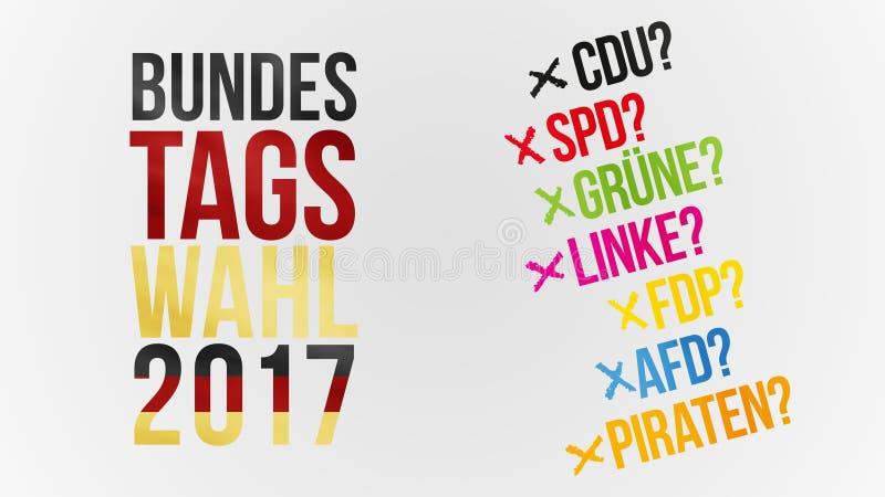 Γερμανικές λέξεις για την ομοσπονδιακή εκλογή 2017 στο μαύροι κόκκινοι χρυσό και ger διανυσματική απεικόνιση