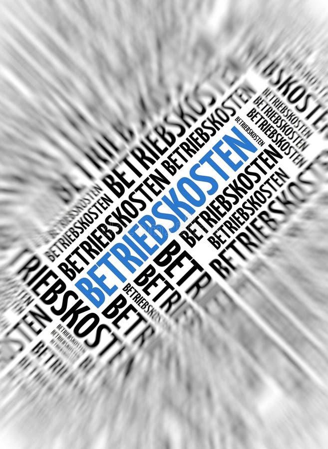 Γερμανική λέξη - Betriebskosten (κόστος της λειτουργίας) απεικόνιση αποθεμάτων