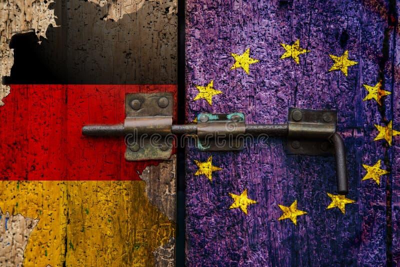 Γερμανική σημαία εξόδων της ΕΕ Dexit γερμανική διανυσματική απεικόνιση