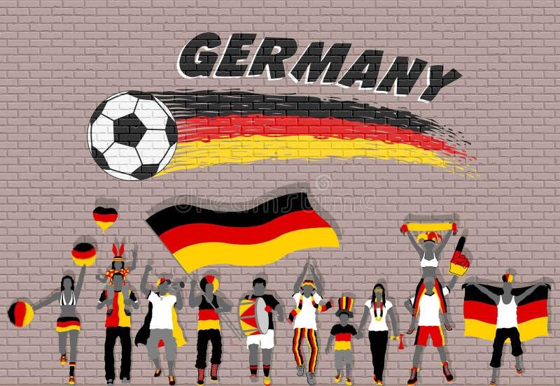 Γερμανικοί οπαδοί ποδοσφαίρου ενθαρρυντικοί με τα χρώματα σημαιών της Γερμανίας στο μέτωπο ελεύθερη απεικόνιση δικαιώματος