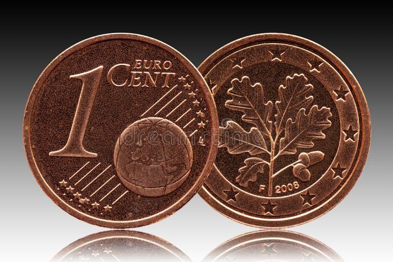 Γερμανικός ευρο- νόμισμα της Γερμανίας σεντ, μπροστινή πλευρά 1 και παγκόσμια σφαίρα, δρύινο φύλλο πίσω πλευρών στοκ φωτογραφίες