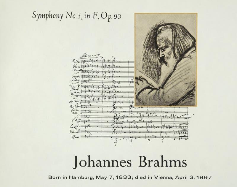 Γερμανικός συνθέτης Johannes Brahms στοκ εικόνα με δικαίωμα ελεύθερης χρήσης