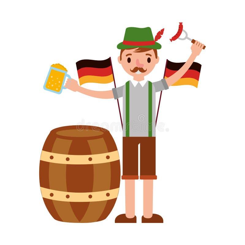 Γερμανικό άτομο με τις μπύρες και το λουκάνικο ελεύθερη απεικόνιση δικαιώματος
