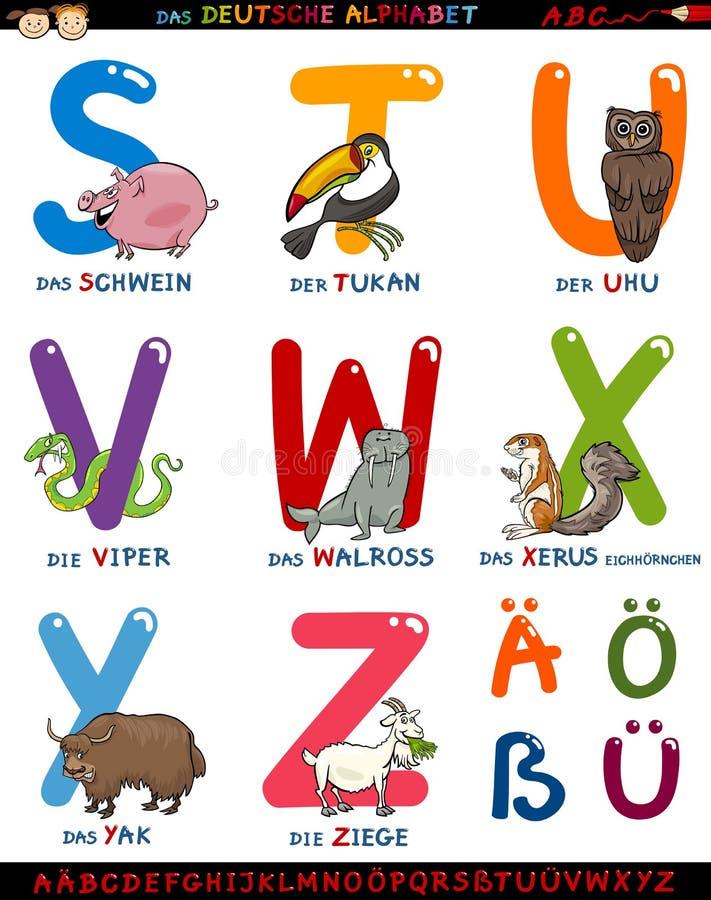 Γερμανικό αλφάβητο κινούμενων σχεδίων με τα ζώα ελεύθερη απεικόνιση δικαιώματος