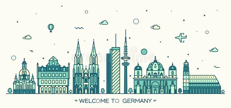 Γερμανικό γραμμικό ύφος απεικόνισης πόλεων διανυσματικό διανυσματική απεικόνιση
