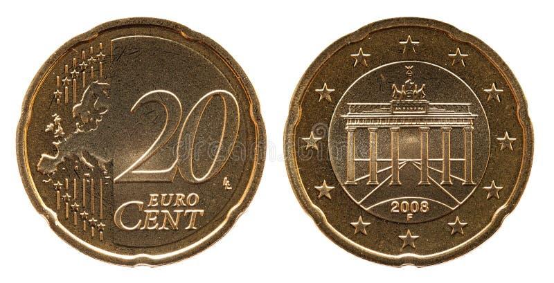 Γερμανικό ευρο- νόμισμα της Γερμανίας σεντ 20, μπροστινή πλευρά 20 και πύλη της Ευρώπης, Βραδεμβούργο πίσω πλευρών στοκ φωτογραφίες