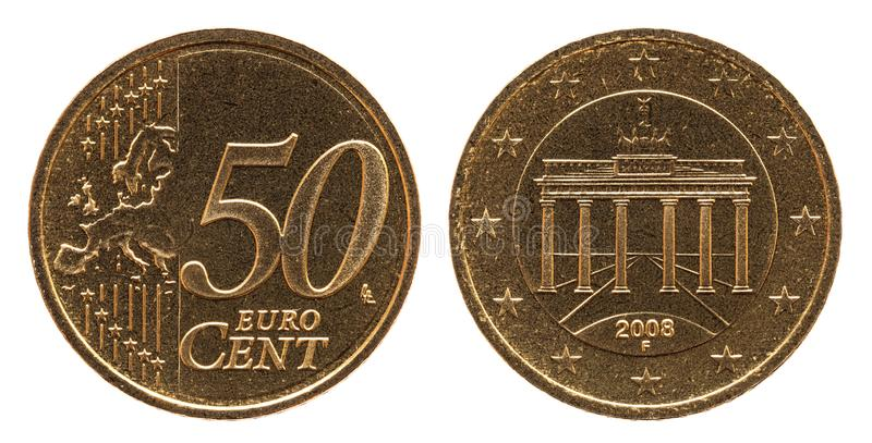 Γερμανικό ευρο- νόμισμα της Γερμανίας σεντ 50, μπροστινή πλευρά 50 και πύλη της Ευρώπης, Βραδεμβούργο πίσω πλευρών στοκ εικόνες με δικαίωμα ελεύθερης χρήσης