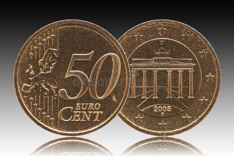 Γερμανικό ευρο- νόμισμα της Γερμανίας σεντ 50, μπροστινή πλευρά 50 και πύλη της Ευρώπης, Βραδεμβούργο πίσω πλευρών στοκ εικόνα με δικαίωμα ελεύθερης χρήσης