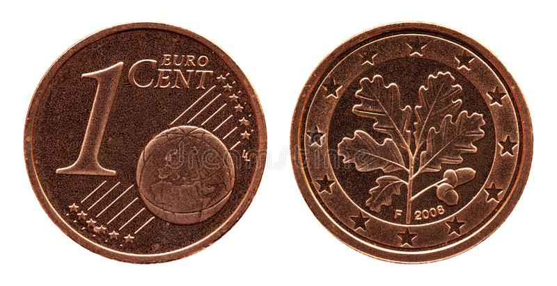 Γερμανικό ευρο- νόμισμα της Γερμανίας σεντ πέντε, μπροστινή πλευρά 1 και παγκόσμια σφαίρα, δρύινο φύλλο πίσω πλευρών στοκ φωτογραφίες με δικαίωμα ελεύθερης χρήσης
