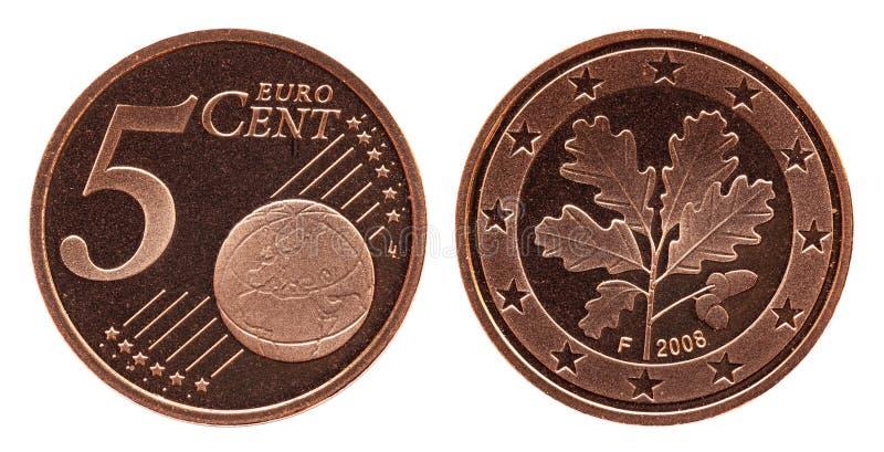 Γερμανικό ευρο- νόμισμα της Γερμανίας σεντ πέντε, μπροστινή πλευρά 5 και παγκόσμια σφαίρα, δρύινο φύλλο πίσω πλευρών στοκ εικόνα