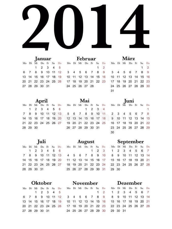 Γερμανικό ημερολόγιο 2014 στοκ εικόνες