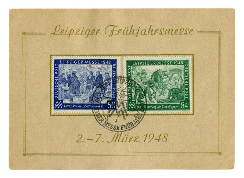 Γερμανικό ιστορικό φύλλο γραμματοσήμων: η εμπορική έκθεση της Λειψίας άνοιξη με την ειδική ακύρωση, στις 7 Μαρτίου 1948, μεσαιωνι στοκ φωτογραφίες