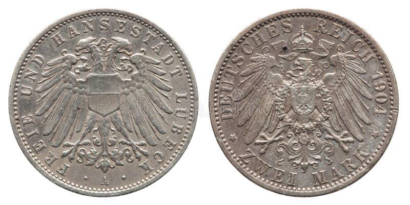 Γερμανικό Λούμπεκ ασημένιο νόμισμα 2 δύο σημάδι 1904 της Γερμανίας στοκ εικόνα με δικαίωμα ελεύθερης χρήσης