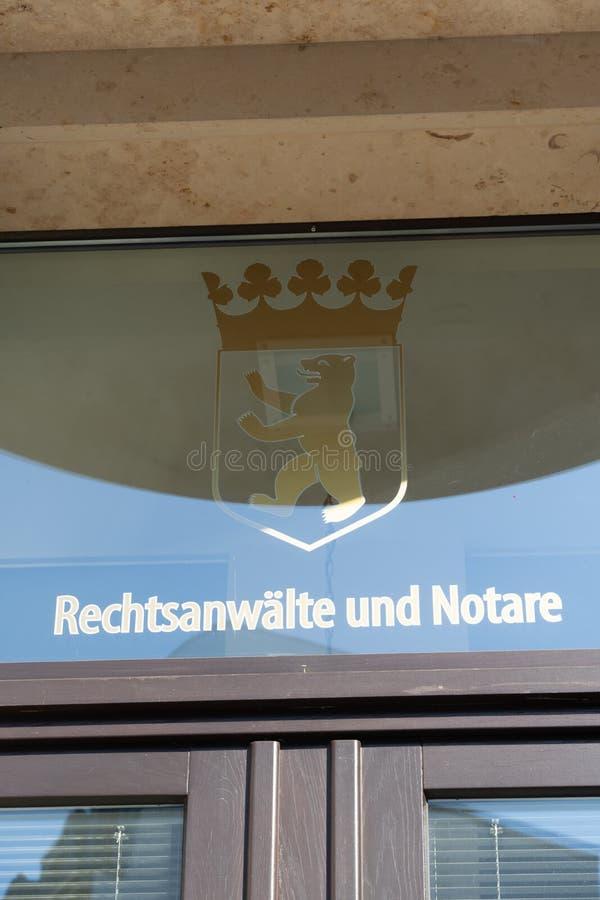Γερμανικό σημάδι δικηγόρων και συμβολαιογράφων στοκ φωτογραφία