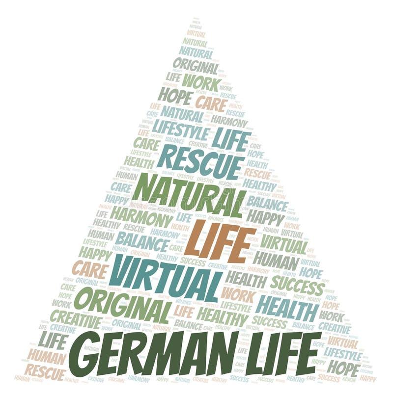 Γερμανικό σύννεφο λέξης ζωής απεικόνιση αποθεμάτων