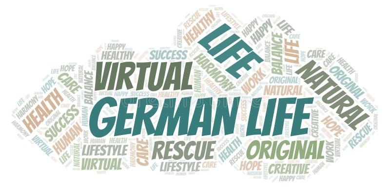 Γερμανικό σύννεφο λέξης ζωής διανυσματική απεικόνιση
