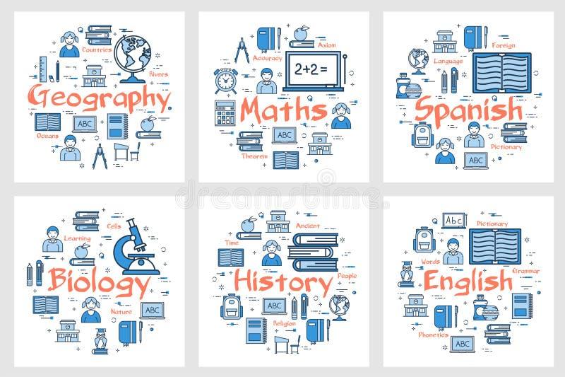 Γεωγραφία, ιστορία, μαθηματικά, γλώσσες και η βιολογία απεικόνιση αποθεμάτων