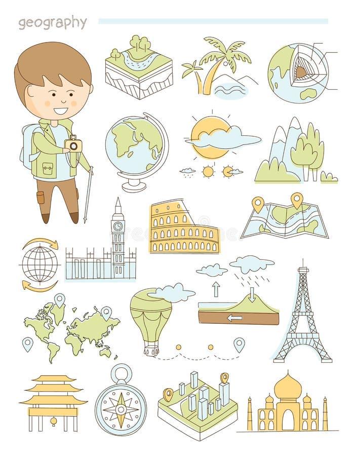 Γεωγραφία και ταξίδι, γεωγράφος Doodle δασκάλων διανυσματική απεικόνιση