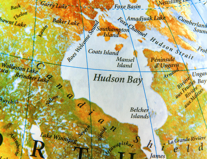Γεωγραφικός χάρτης κόλπου Χάντσον στη χώρα του Καναδά στοκ εικόνα